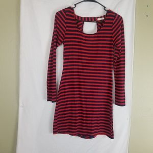 Everly Blue & Red Ringed Stripe Tunic Top Dress M